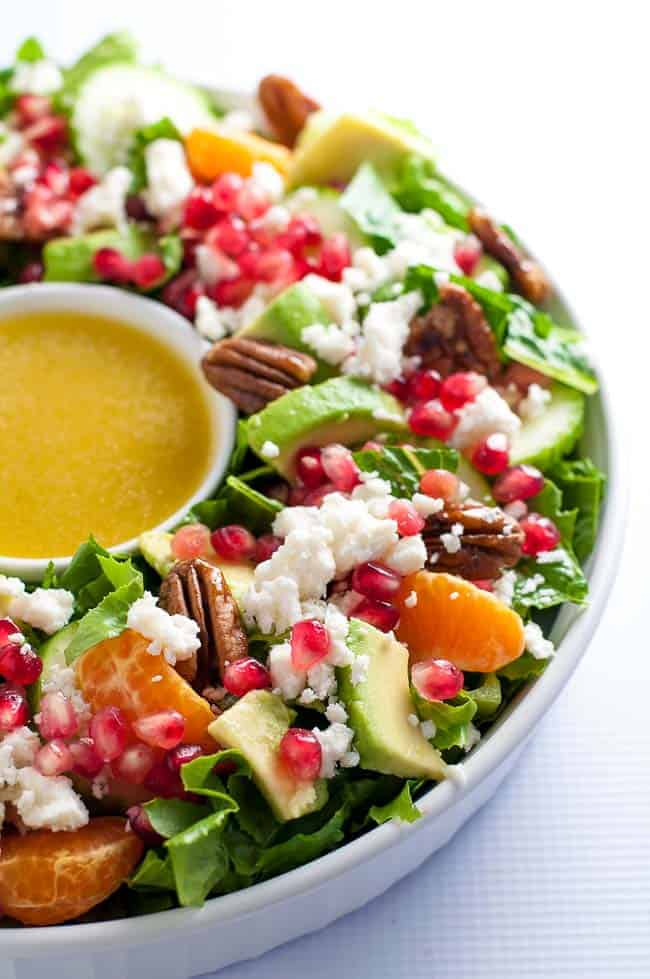 Christmas Wreath Salad in a round white dish
