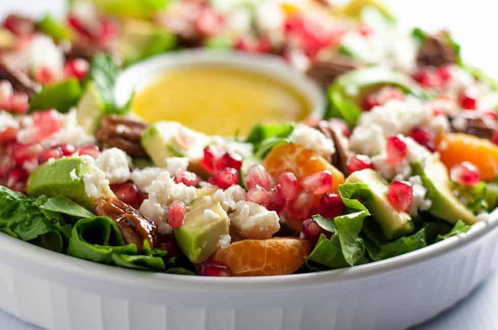 Christmas Wreath Salad with mandarin oranges pomegranate and romaine