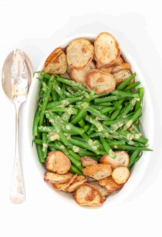 Dijon Green Beans with Crispy Potato Chips overhead view.