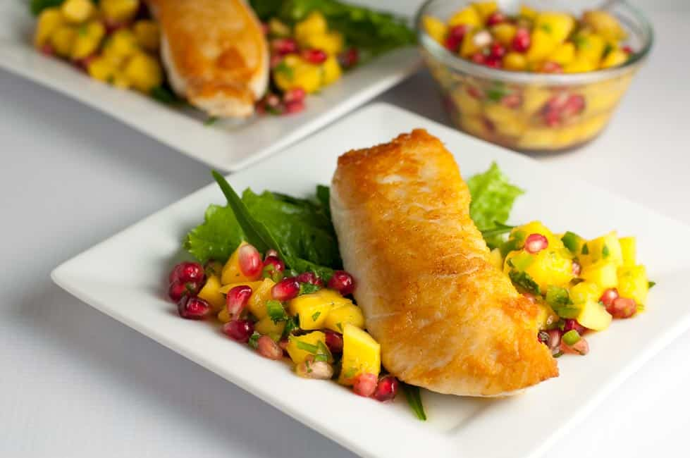 Salt and Pepper Crusted Halibut with Mango Pomegranate Salsa. Six Fresh Salsa Recipes to Spice Up Your Life  www.flavourandsavour.com