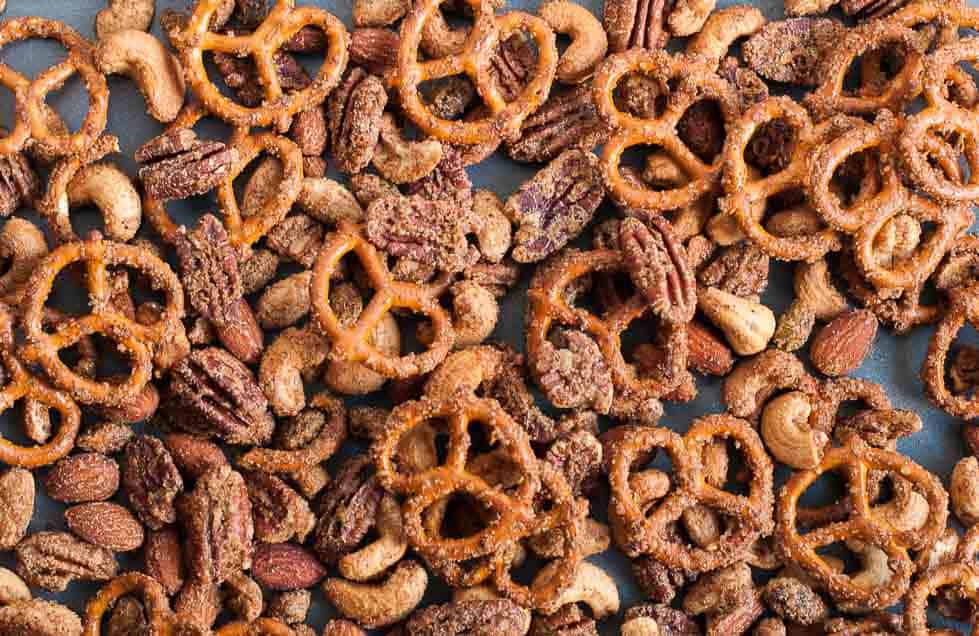 Sweet and Spicy Pretzel Nut Snack Mix.