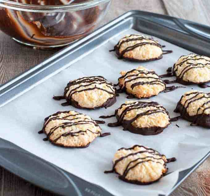 Chocolate Dipped Crispy Coconut Cookies