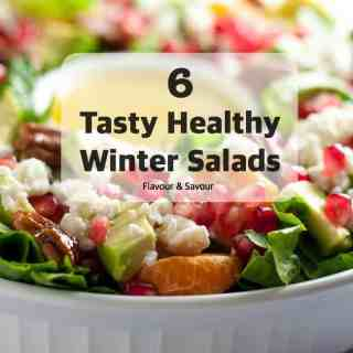 Try these tasty healthy winter salads made with colourful seasonal vegetables, fruits, and nuts. Six choices to add interest and brighten your winter meals.