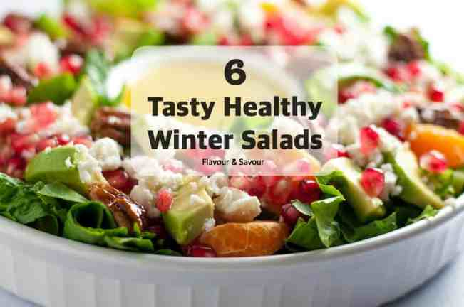 Try these tasty healthy winter salads made with colourful seasonal vegetables, fruits, and nuts.