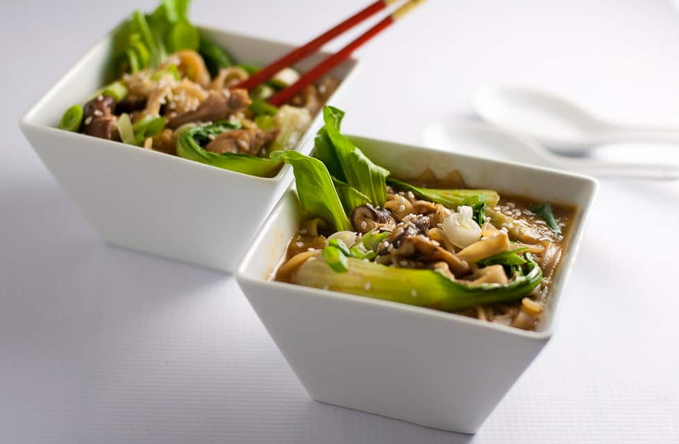 Enjoy some umami bliss with this healthy Ginger Garlic Miso Soup with Shiitake and Oyster Mushrooms and baby Bok Choy.