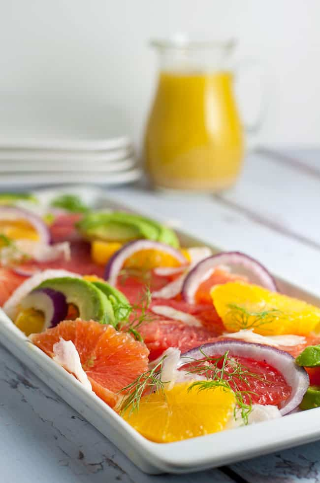 Grapefruit-Orange Avocado Salad with Fennel. Banish the winter blues with this cheerful bright citrus salad, bursting with Vitamin C! |www.flavourandsavour.com
