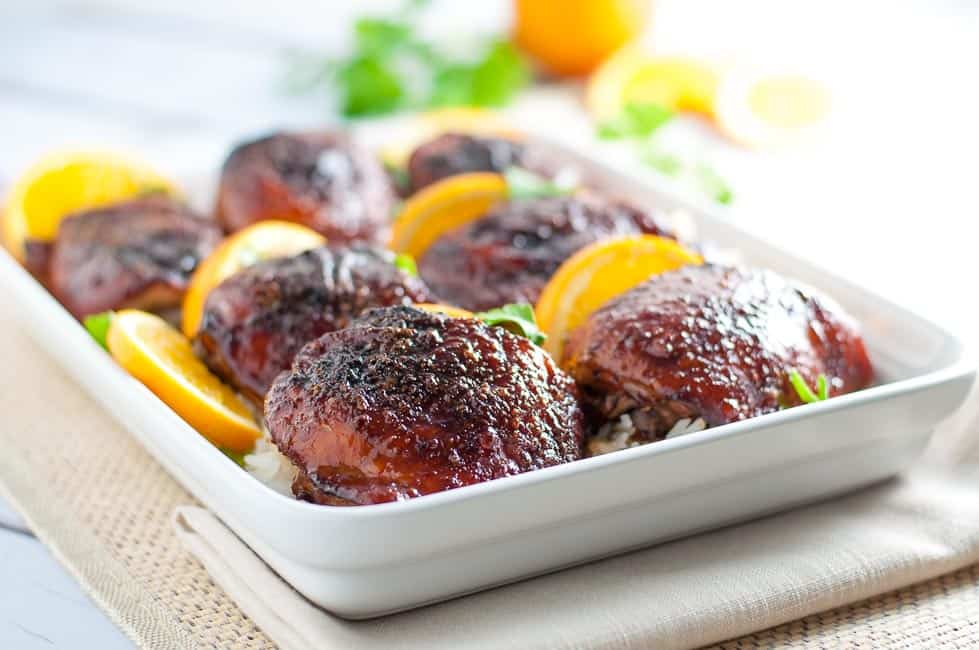 Hoisin Orange Glazed Chicken Thighs. An easy, 5-ingredient glaze for chicken results in succulent, juicy chicken.  www.flavourandsavour.com