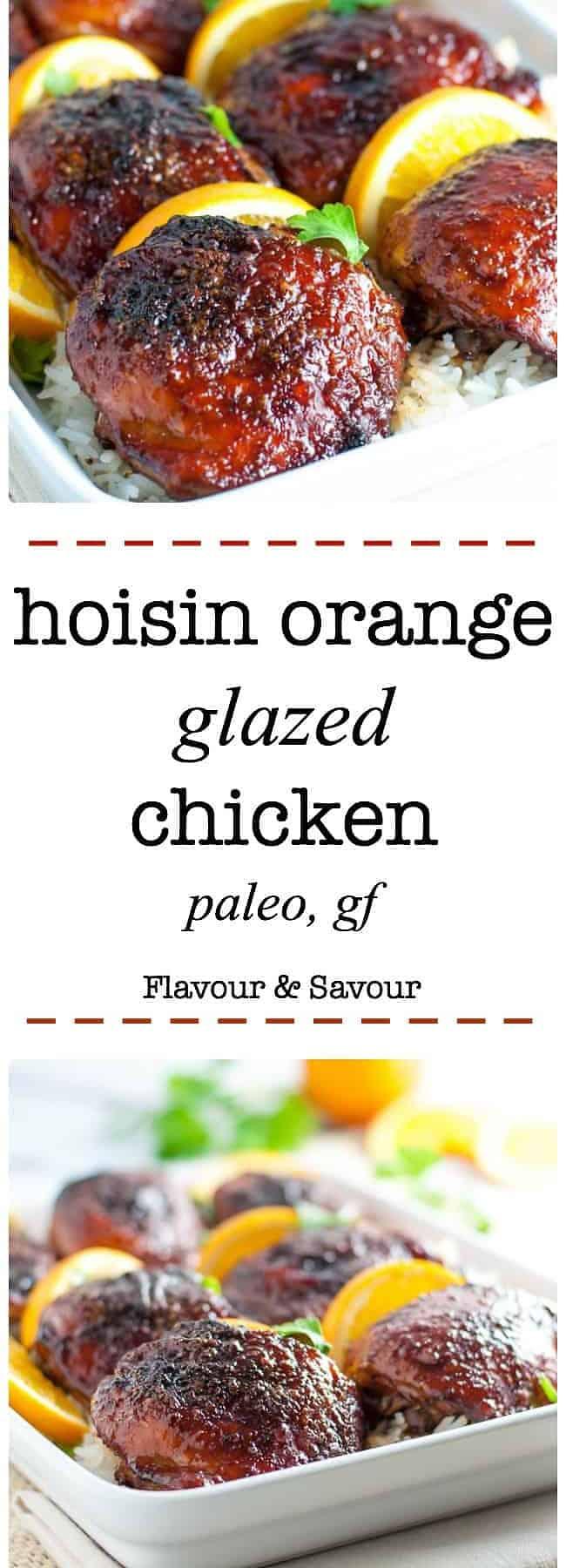 Hoisin Orange Glazed Chicken Thighs. An easy, 5-ingredient glaze for chicken results in succulent, juicy chicken with hints of orange, ginger and garlic. #orange #chicken #Asian