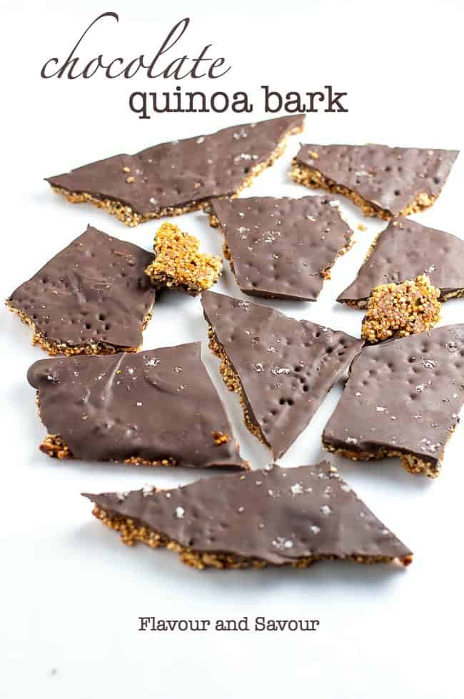 This Healthy Quinoa Chocolate Bark is full of superfoods, like quinoa, chia, hemp, pumpkin seeds, sunflower seeds, nuts and coconut oil. It's deliciously addictive. #chocolatebark #quinoa #chia #hemp #pumpkinseeds #superfoods