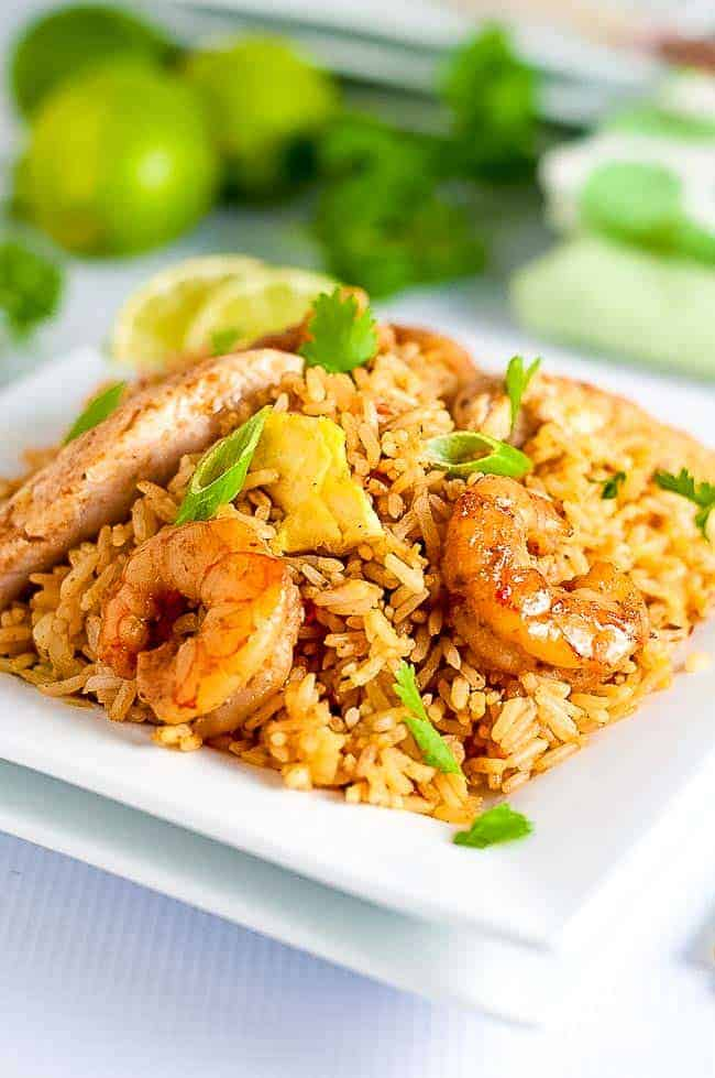 Easy Indonesian Fried Rice--Nasi Goreng garnished with egg