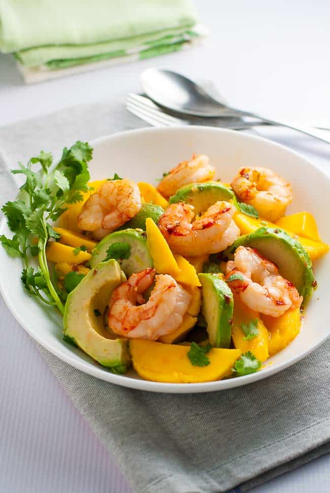 Prawn Mango Avocado Salad with Lemon Lime Dressing. Done and on the table in 15 minutes! Paleo/ gluten-free.