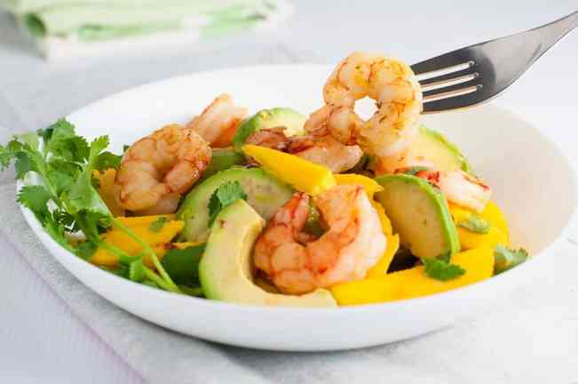 Prawn Mango Avocado Salad with Lemon Lime Dressing