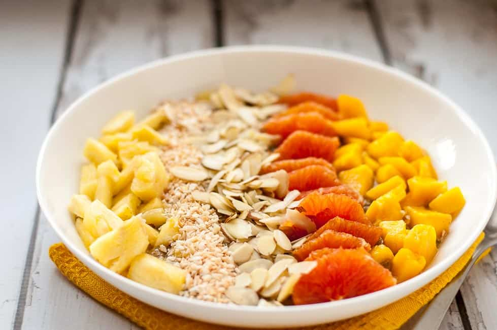 Tropical Turmeric Smoothie Bowl. Just one of 7 Delicious Ways to Add Turmeric to your Diet from Flavour and Savour