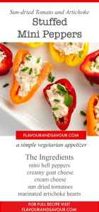 Sun dried Tomato and Artichoke Stuffed Mini Peppers-- a simple vegetarian appetizer. Easy to make. |www.flavourandsavour.com