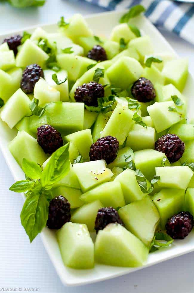 Blackberry Honeydew Salad with Basil. Tips for choosing a ripe honeydew melon.