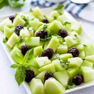 Blackberry Honeydew Salad with Basil.