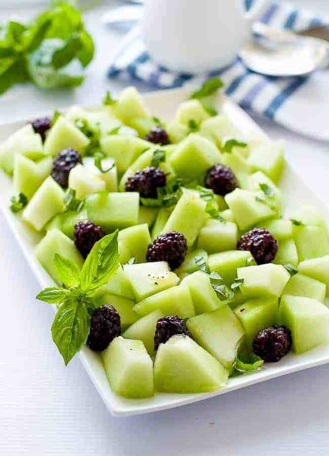 Blackberry Honeydew Salad with Basil