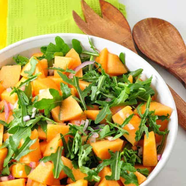 Cantaloupe Arugula Salad and tips for choosing a ripe cantaloupe