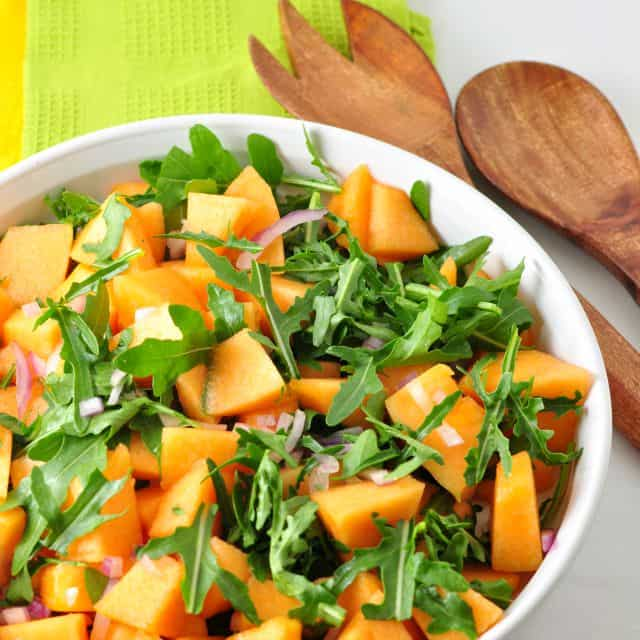 Cantaloupe Arugula Salad and tips for choosing a ripe cantaloupe