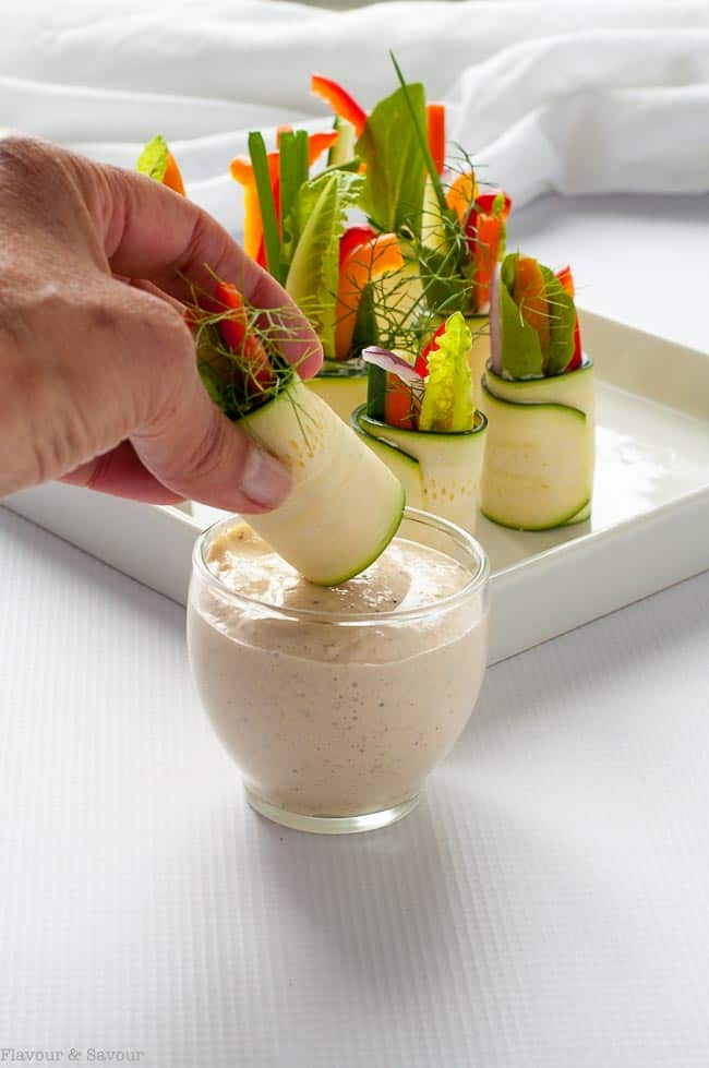 Dipping Fresh Veggie Zucchini Roll ups with Caesar dip 1