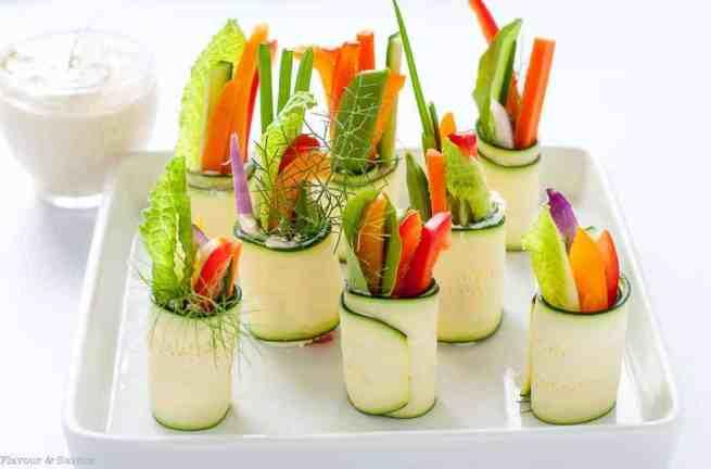 Fresh Veggie Caesar Zucchini Roll-Ups