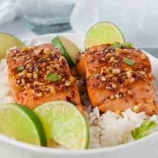 Easy Honey Chili Lime Glazed Salmon
