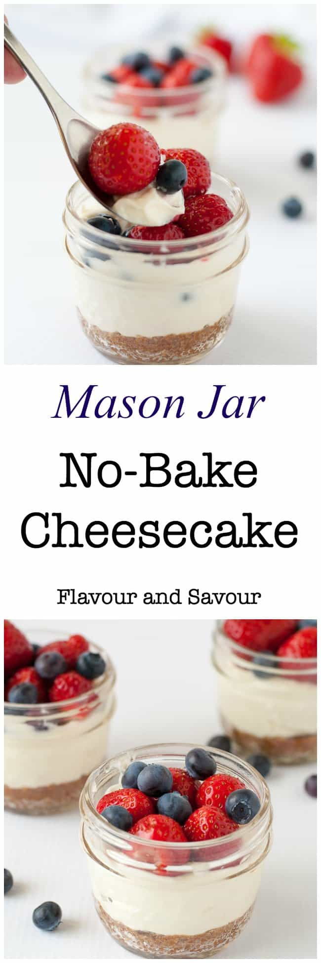 Mini no-bake cheesecakes made and served in Mason jars make an ideal dessert for a picnic, for camping, or as a fun treat for kids. A quick and easy dessert.