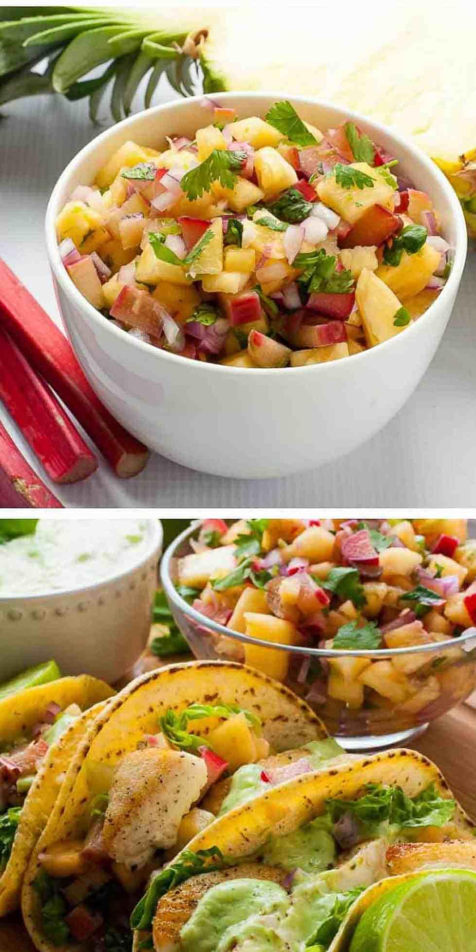 Pineapple Rhubarb Salsa. Six Fresh Salsa Recipes to Spice Up Your Life.