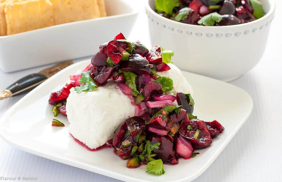Fresh Cherry Salsa with goat cheese