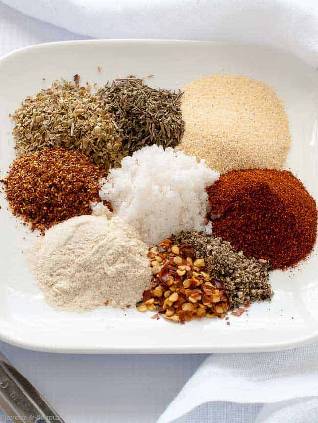 Cajun Seasoning Mix ingredients on a plate