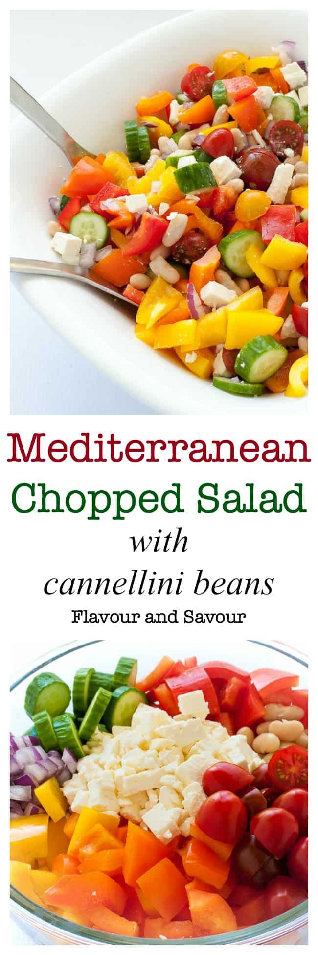 This colourful Mediterranean Chopped Salad recipe is easy to adapt to your family's tastes. Fresh peppers, cucumbers tomatoes, onions, beans and feta cheese make it a popular choice for potlucks or family gatherings.