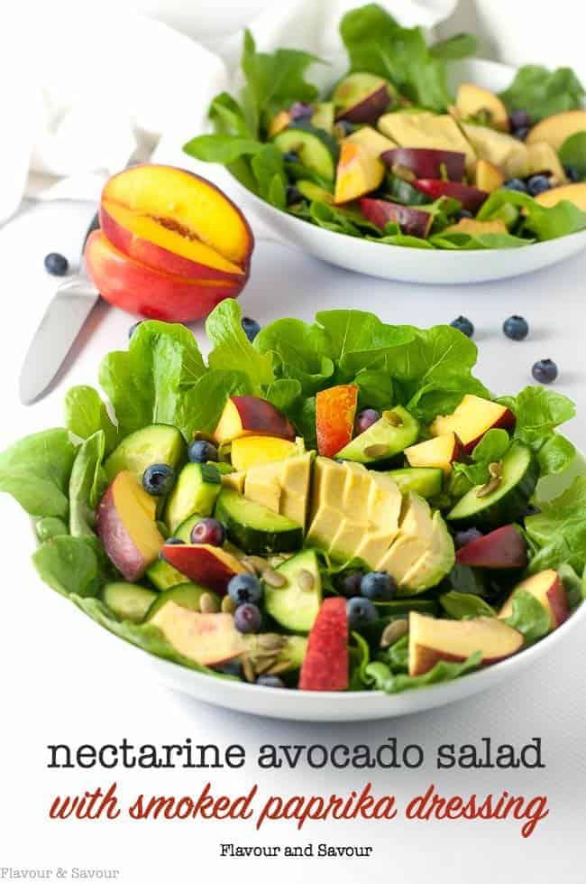 Nectarine Avocado Salad with Smoked Paprika Dressing
