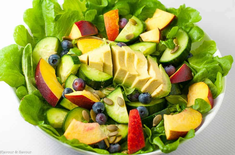 Sweet stone fruit, creamy avocados, and crisp cucumbers drizzled with a smoky dressing make this Nectarine Avocado Salad a superb addition to a summertime meal. |www.flavourandsavour.com
