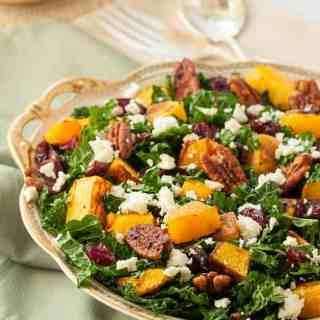 Butternut Squash Salad with Kale Cranberries + Feta