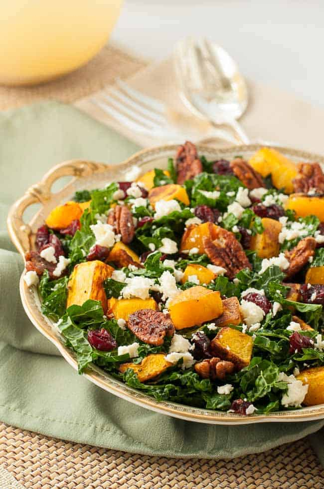 Butternut Squash Salad with Kale Cranberries and Feta
