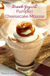 no-bake creamy Greek Yogurt Pumpkin Cheesecake Mousse in glass dessert dishes
