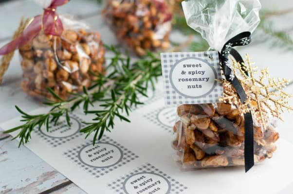 Sweet and Spicy Rosemary Nuts make a great holiday gift!