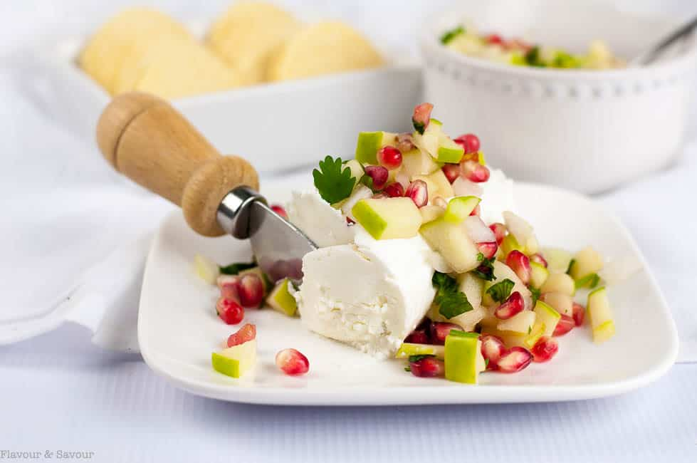 Goat Cheese Log with Apple Pomegranate Salsa
