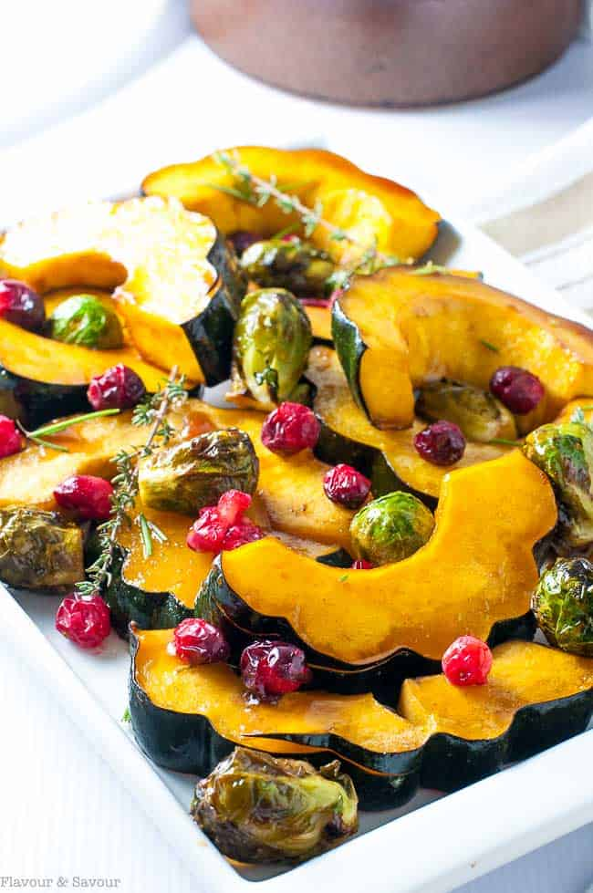 This honey balsamic roasted acorn squash makes a tasty, colourful side dish for any fall or winter dinner. Takes less than 30 min. Great for holiday meals!