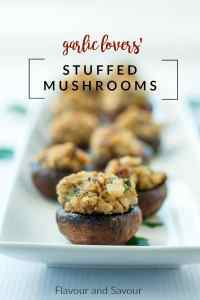Garlic Lovers' Blue Cheese Stuffed Mushrooms on a narrow platter