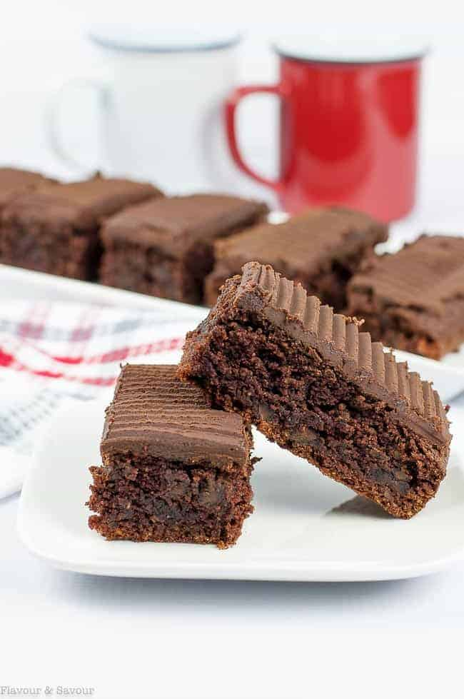 Grain-Free Amaretto Brownies with Chocolate Ganache stacked