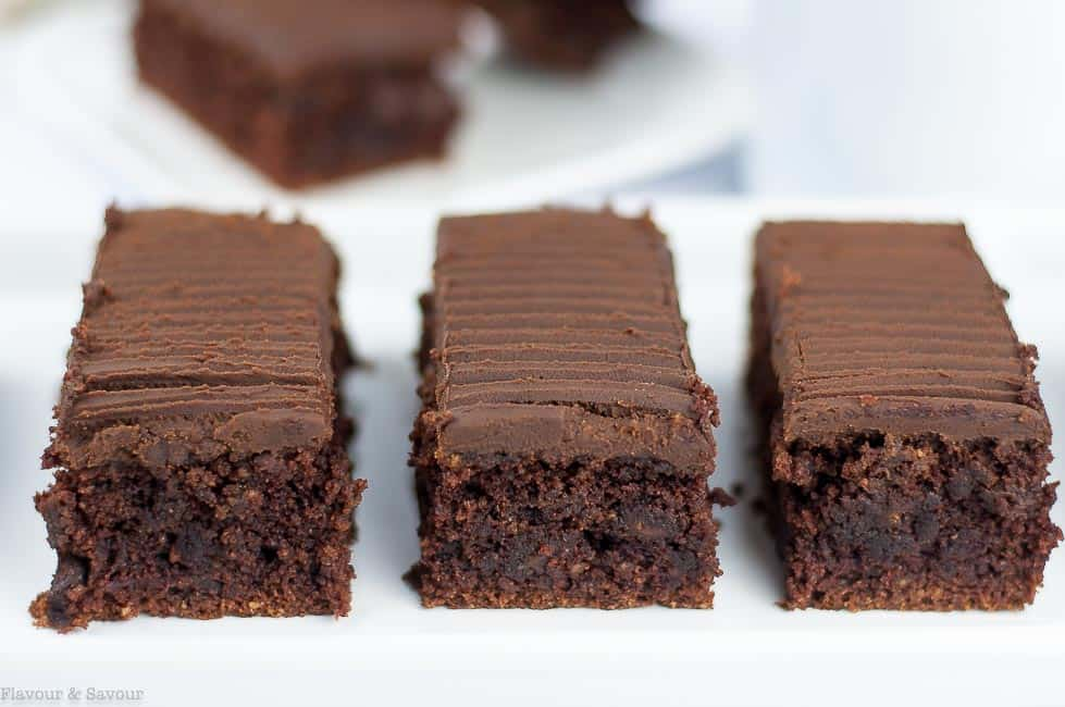 Grain-Free Amaretto Brownies with Chocolate Ganache ready to eat!