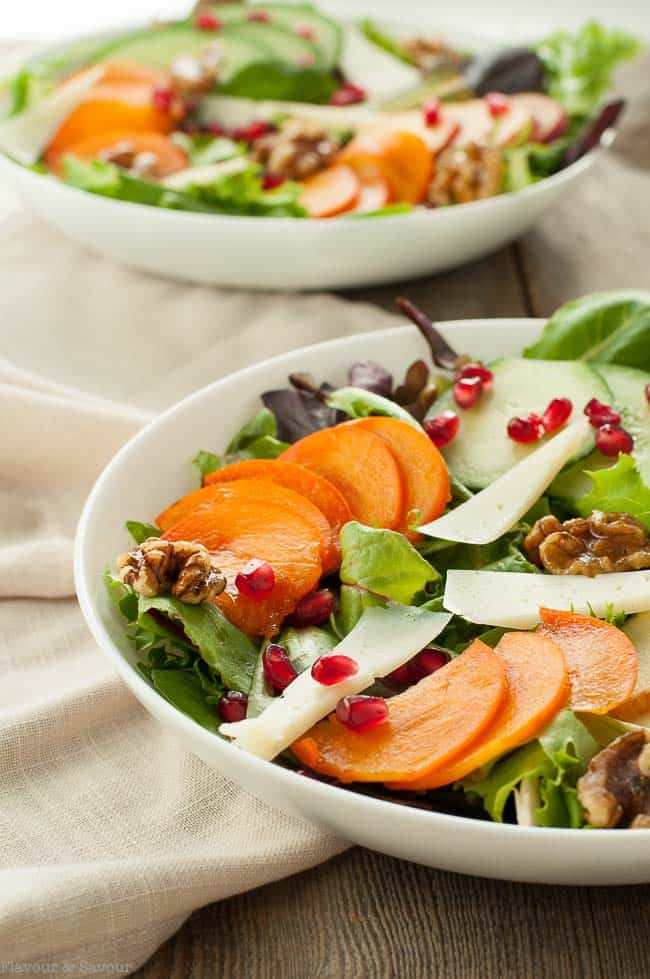Persimmon Pomegranate Salad with Maple Walnuts
