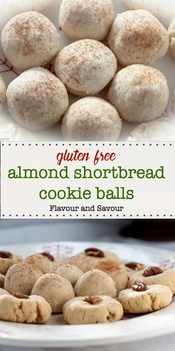 Pillowy mounds of delicately sweetened gluten-free almond-flavoured shortbread cookie balls are lightly sweetened and flavoured with orange and cinnamon. #glutenfree #almondflour #shortbread #balls #Christmas #cookie