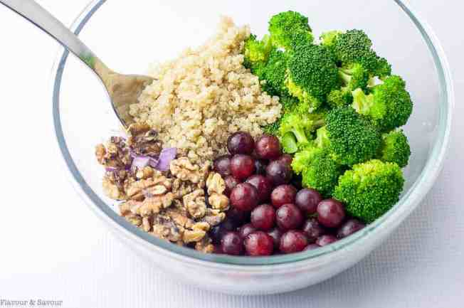 Ingredients for Broccoli Grape Quinoa Salad