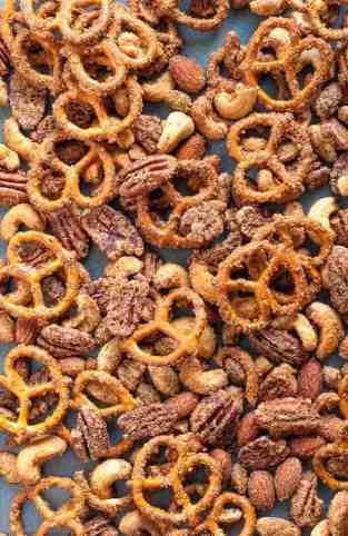 Pretzel Nut Snack Mix on baking tray