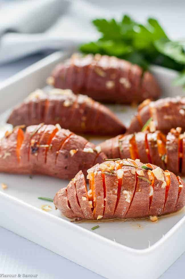 Baby Hasselback Sweet Potatoes with Garlic Herb Butter