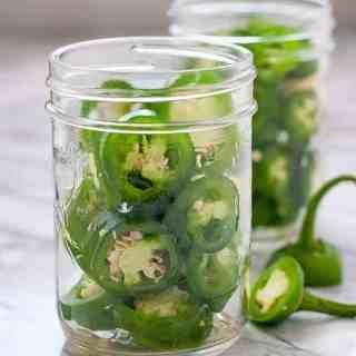 Jalapeño Pepper rings in Mason Jars ready to make Quick Refrigerator Pickled Jalapeños