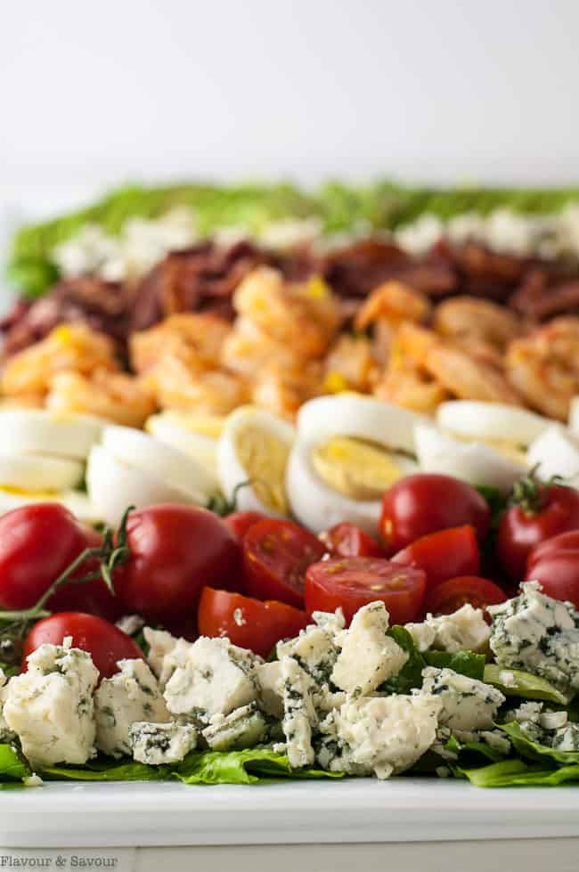 Lemon Garlic Shrimp Cobb Salad on platter close up view