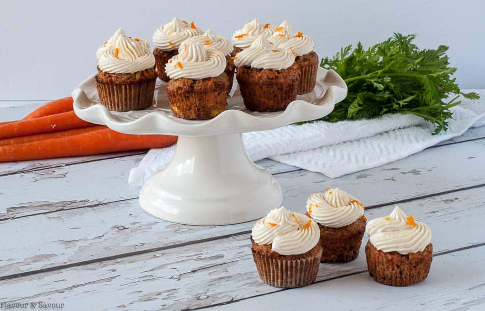 One-bite carrot cake cupcakes with frosting